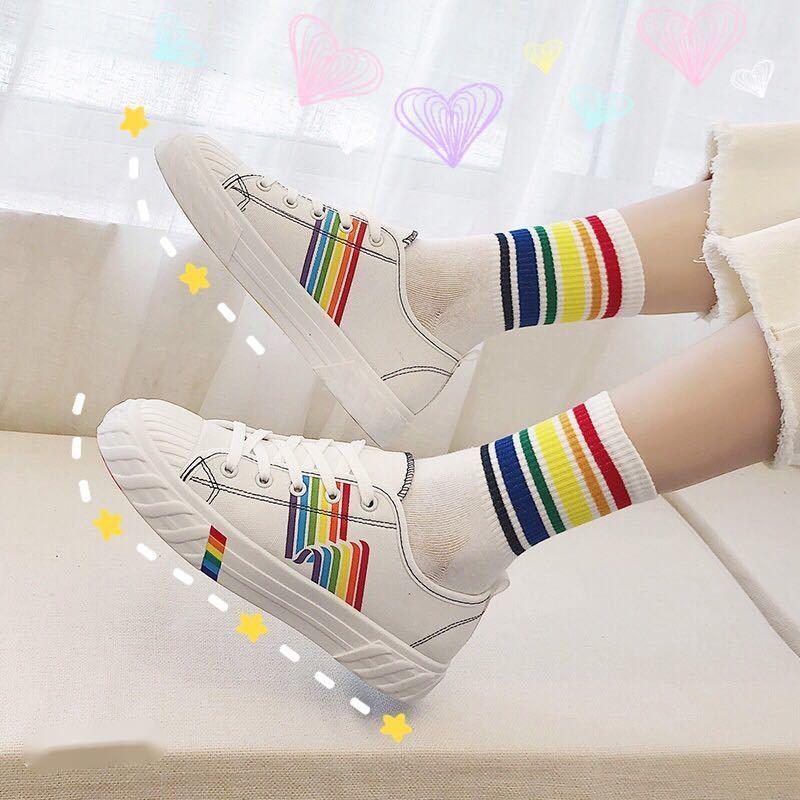 泫雅风帆布鞋女学生韩版涂鸦彩虹鞋平底板鞋ins原宿小白低帮百搭2
