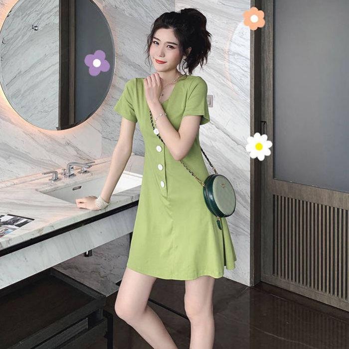 连衣裙子新款流行女学生韩版超仙修身收腰夏季短裙学院风纽扣抽绳
