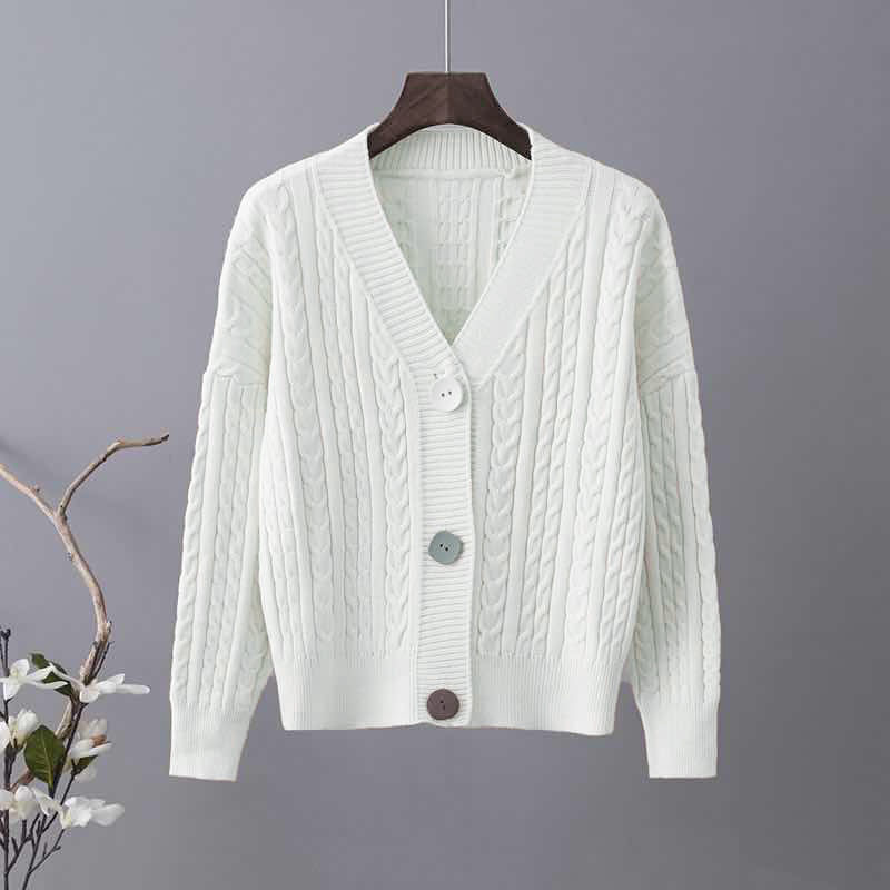 针织开衫女毛衣外套新款莫代尔长袖外搭秋冬季韩版宽松加厚黑白色