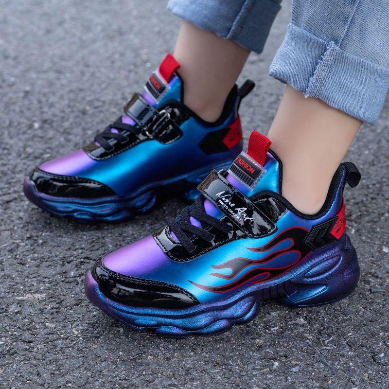 男童鞋子中大童秋冬棉鞋儿童篮球鞋男学生运动鞋皮面加绒男孩鞋子