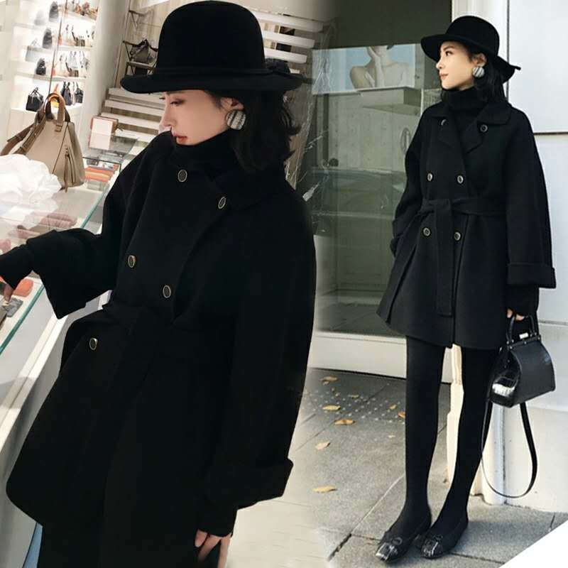 2020秋冬新款韩版羊毛呢外套赫本风小个子宽松修身收腰中长款女