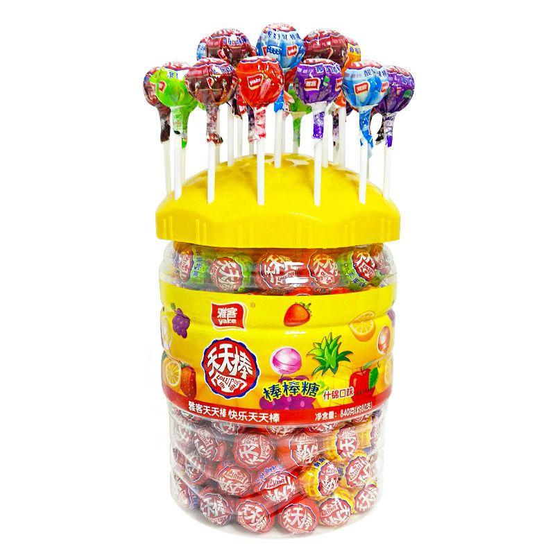 雅客天天棒棒糖散装网红少女心水果味糖果休闲儿童零食桶罐装批发主图8