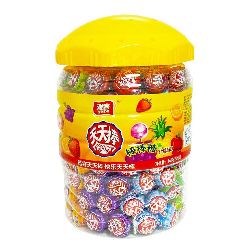 雅客天天棒棒糖散装网红少女心水果味糖果休闲儿童零食桶罐装批发主图9