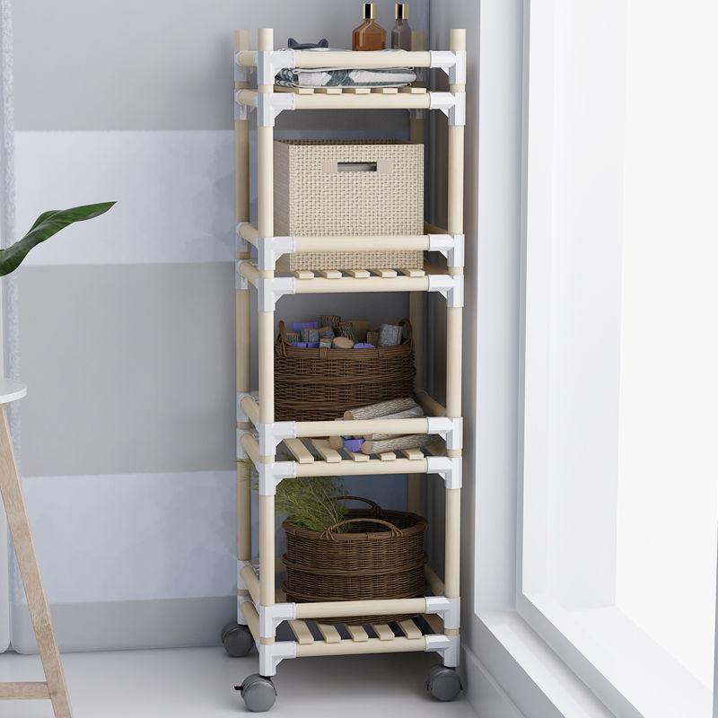 多功能加粗实木厨房置物架落地锅架书架卧室客厅卫生间多层收纳架