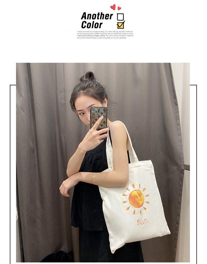 学生文艺帆布包女单肩卡通日系环保购物手提袋斜跨大容量拎书袋子