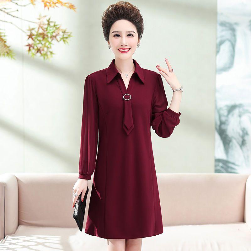 2020秋季新款长袖连衣裙女中老年四面弹保暖加厚裙子纯色修身长裙