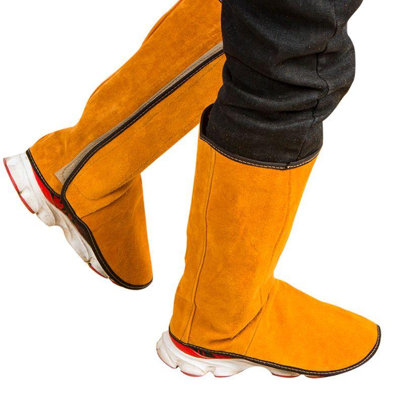 电焊护脚牛皮套全脚劳保防护罩电焊工防烫脚盖放火花飞溅护腿用品