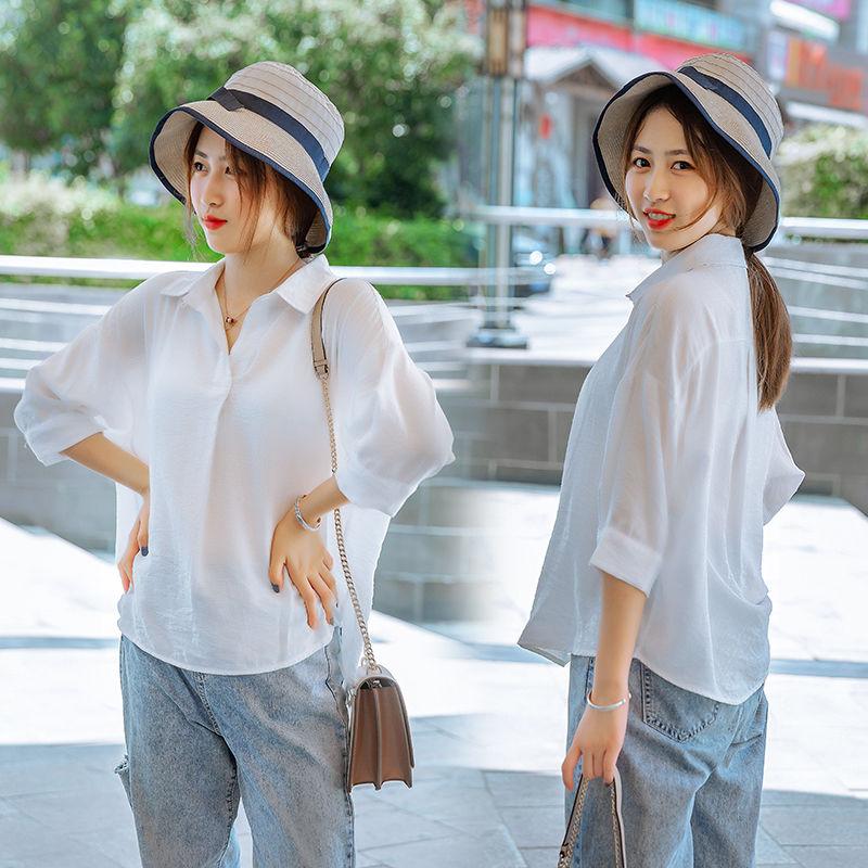 个性2020纯色夏季白短袖衬雪纺衣女v领秋季女上衣