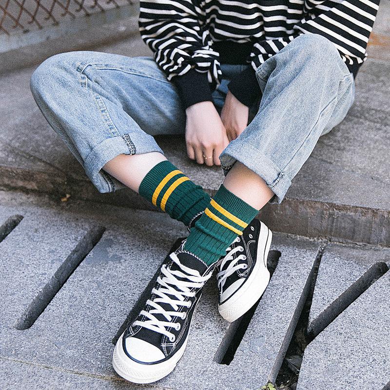 【5双】袜子女韩版中筒长袜春夏季薄款学院风运动长筒堆堆袜ins潮