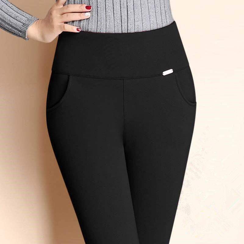 【加绒不加绒】秋冬裤子女高腰弹力外穿打底裤大码黑色休闲裤长裤