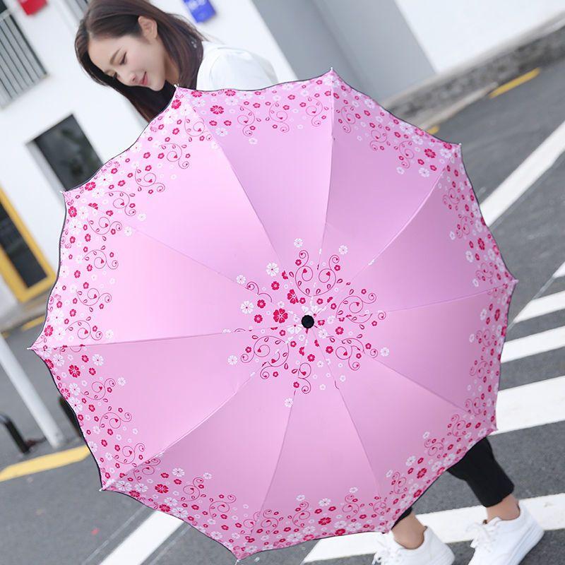 晴雨两用黑胶伞十骨加大双人太阳伞防晒防紫外线清新遮阳雨伞女