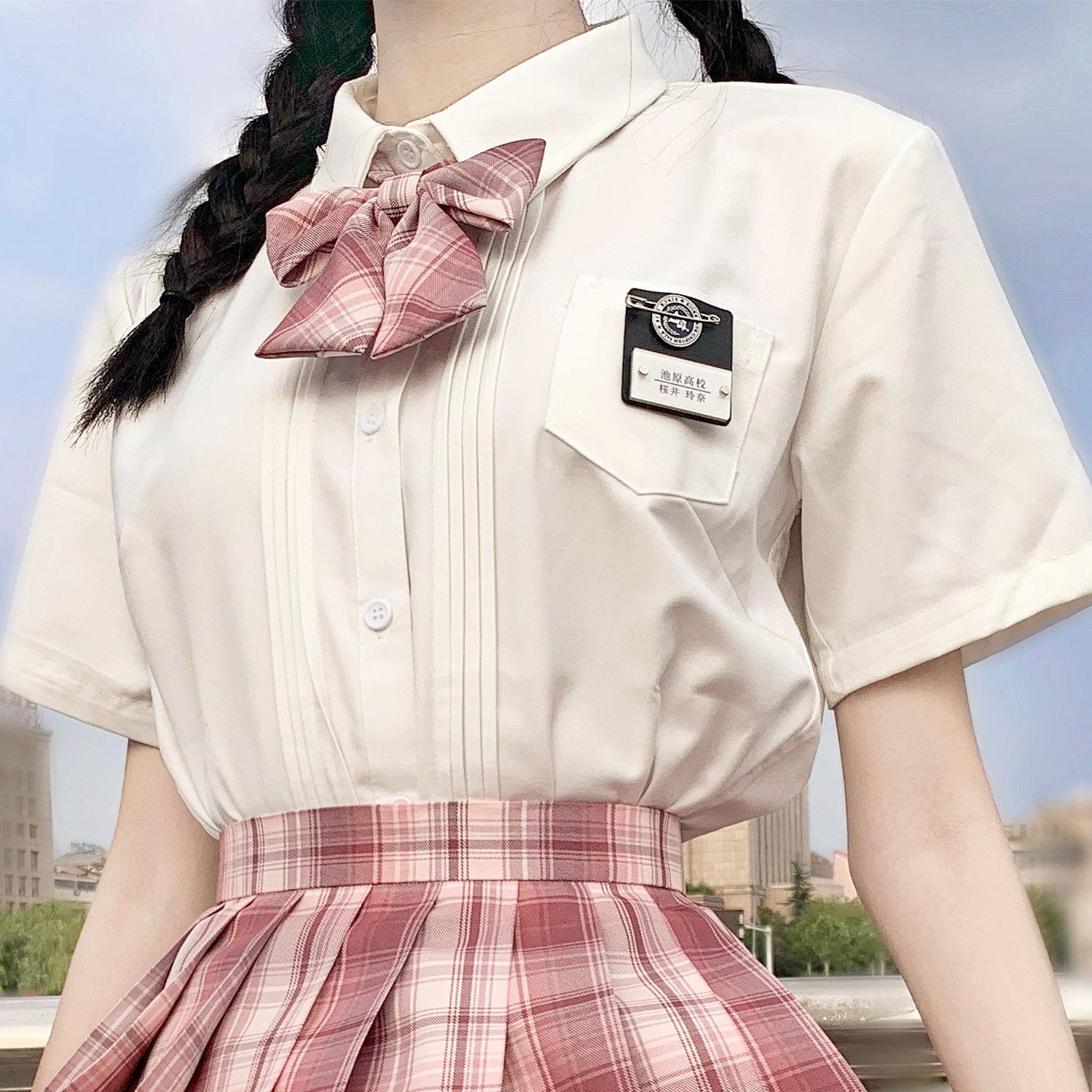 热卖新款【木子酱】风琴褶衬衫JK制服上衣角襟白衬衫日制长袖短袖