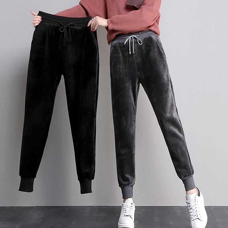 加绒/不加绒裤子女金丝绒运动加绒加厚显瘦小脚卫裤子百搭休闲裤
