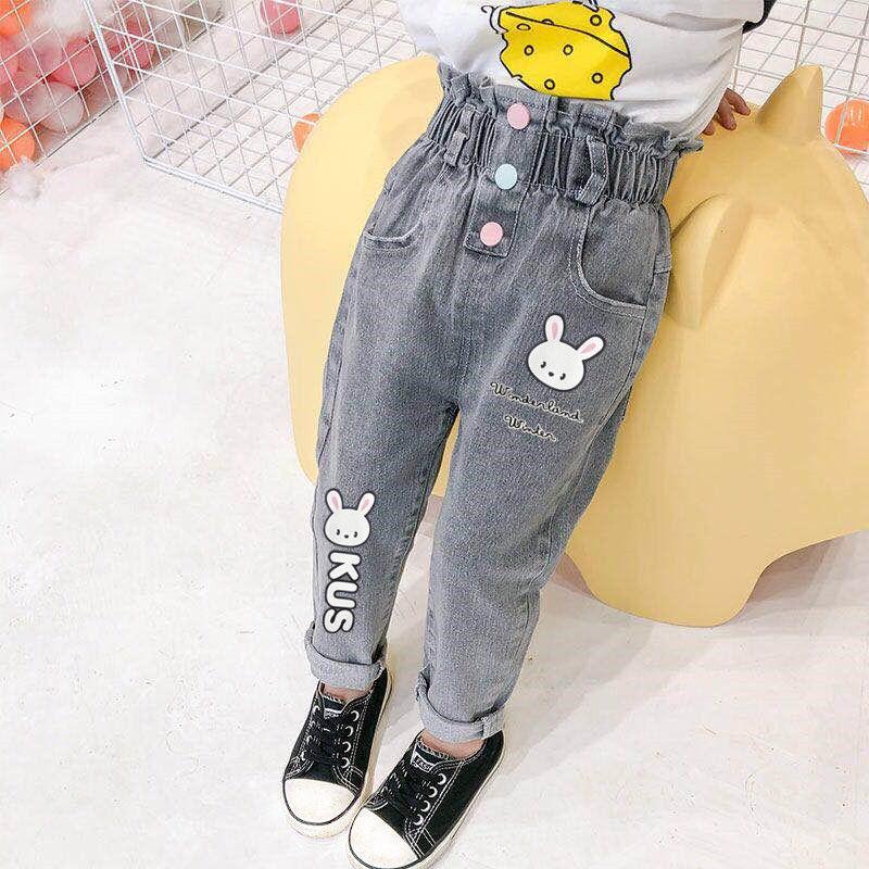 女童牛仔裤洋气儿童女宝宝韩版2020春秋装新款弹力时髦休闲裤