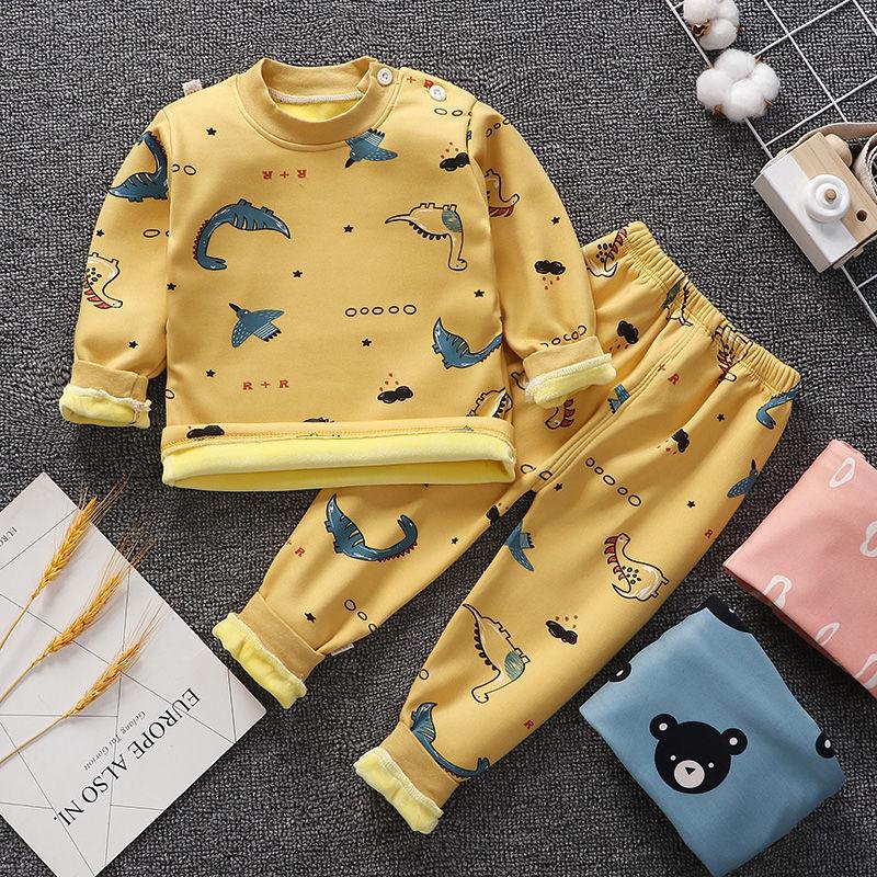 儿童保暖内衣套装宝宝加绒秋衣秋裤0-7岁男童女童睡衣婴儿衣服冬