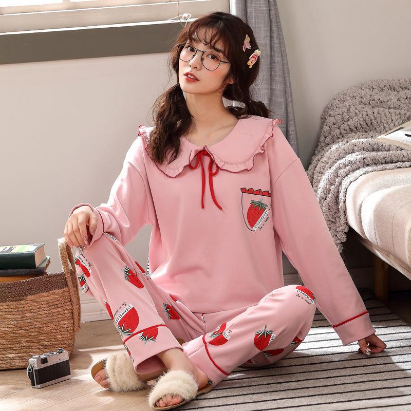 春秋季睡衣女棉质长袖长裤韩版宽松家居服卡通网红套装可外穿冬天