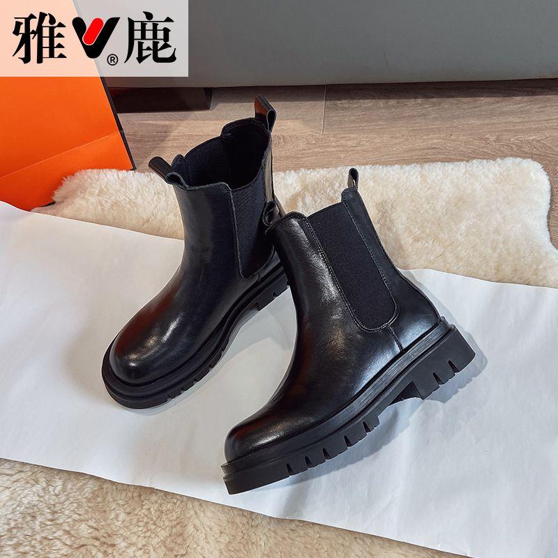 雅鹿厚底真皮短靴中筒马丁靴女2020新款秋季切尔西靴英伦风烟筒靴