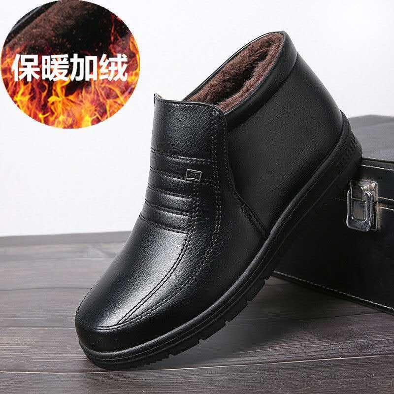 冬季男士棉鞋男鞋中老年人皮鞋防滑加绒加厚羊毛老人爸爸保暖皮鞋