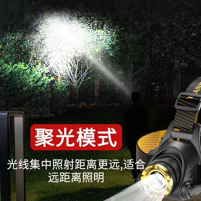 便宜的LED头灯强光超亮头戴式手电筒户外家用远射充电夜钓鱼小氙气矿灯