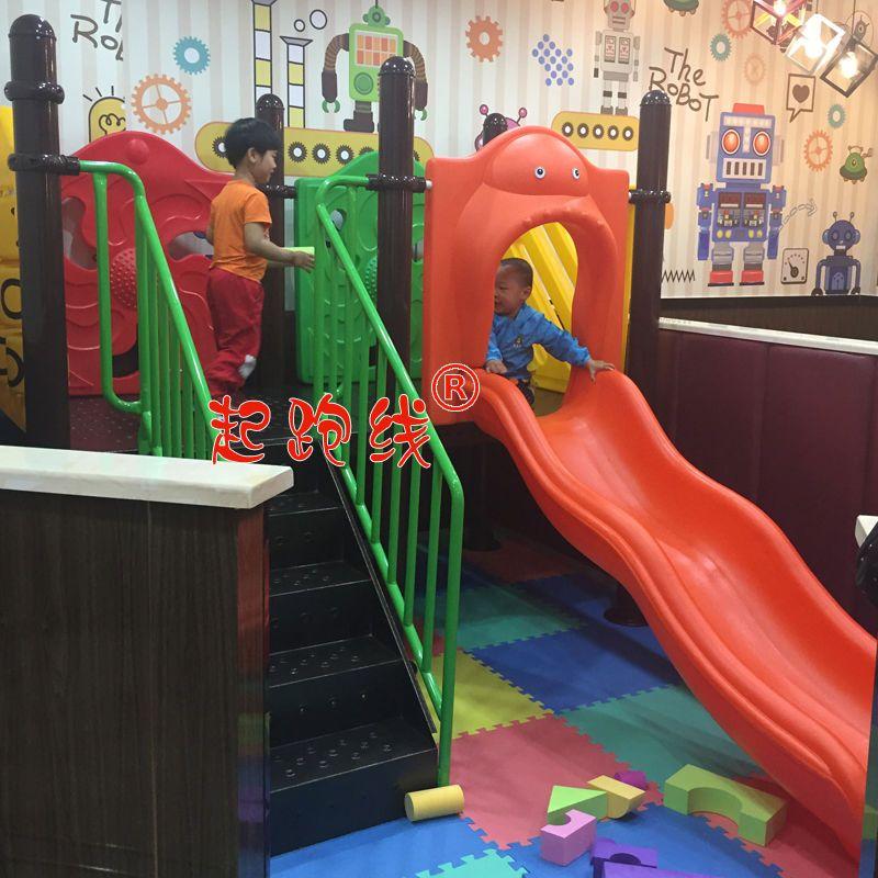 肯德基德克士汉堡店咖啡厅儿童室内游乐区幼儿园早教小博士滑梯