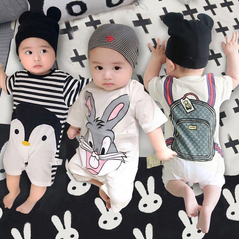 婴儿连体衣夏季0-3月纯棉宝宝哈衣睡衣新生儿爬服短袖薄款外出装