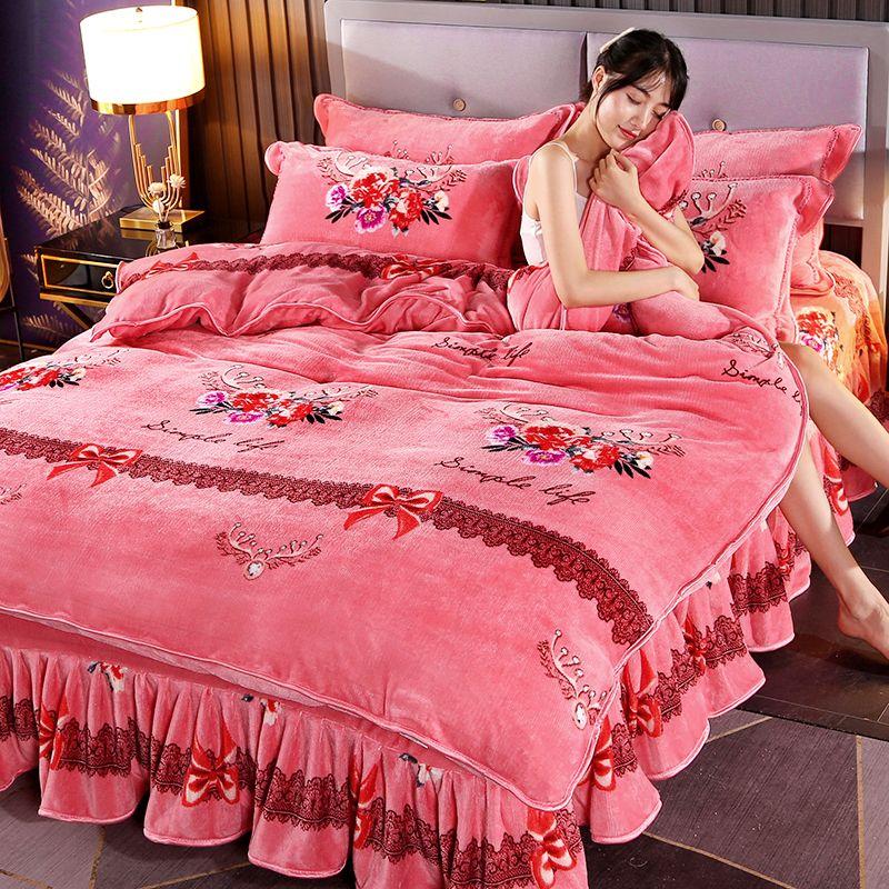 乐加加厚金貂绒珊瑚绒四件套保暖法兰绒三件套被套床上用品床裙款