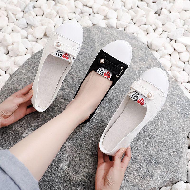 新款帆布鞋女学生韩版女士小白鞋低帮浅口