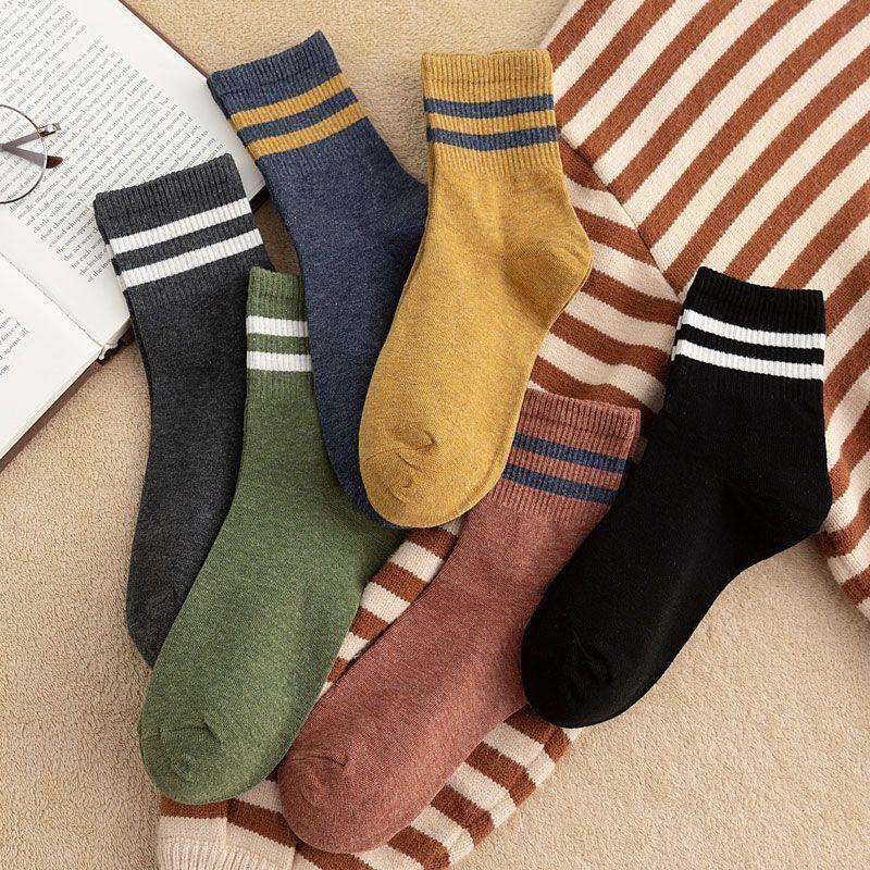 3-10双秋冬袜子女韩版中筒韩版学院风百搭袜日系堆堆袜棉质长袜