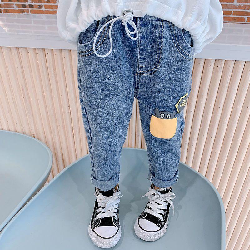 中小童裤子2021春装时尚韩版新款长裤儿童修身版春秋洋气牛仔裤潮