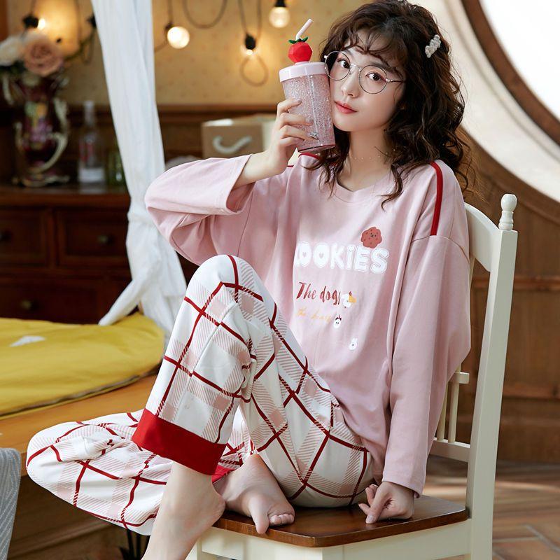 睡衣女纯棉春秋冬季长袖卡通可爱韩版薄款家居服加大码可外穿套装