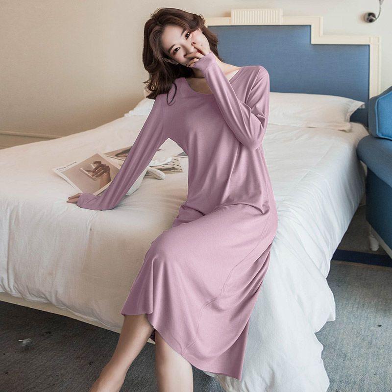 2021带胸垫莫代尔睡衣女长袖秋季中长款过膝网红睡裙可外穿家居服