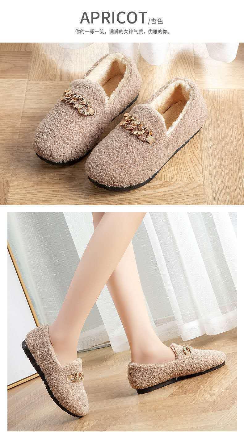 居家棉鞋新款豆豆鞋女秋冬季韓版保暖厚底毛毛拖鞋時尚百搭棉拖鞋外傳加絨