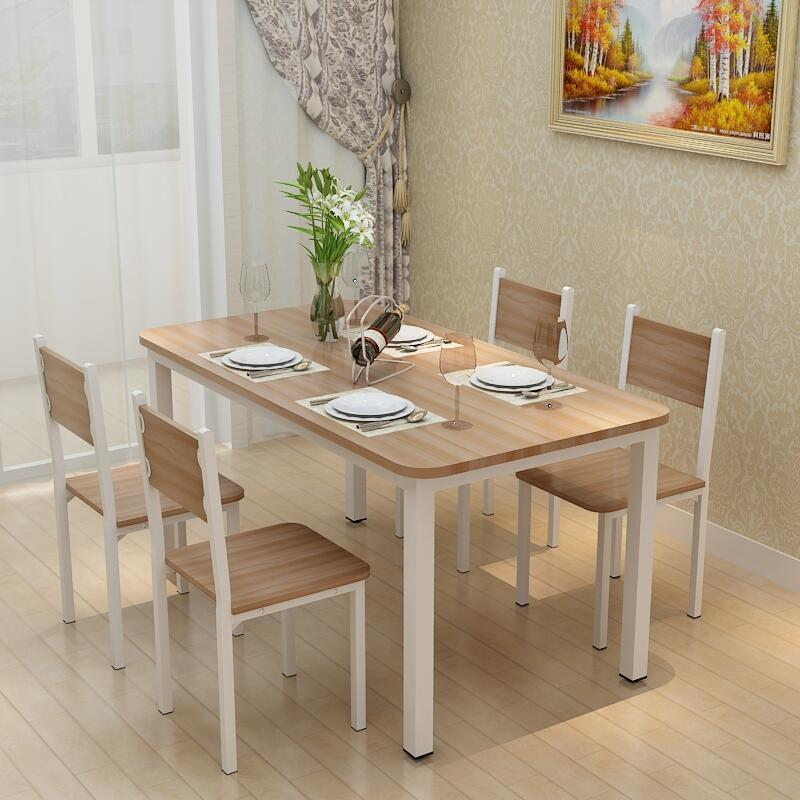 现代小户型家用简易餐桌椅吃饭桌长方形快餐饭店餐桌组合46人简约