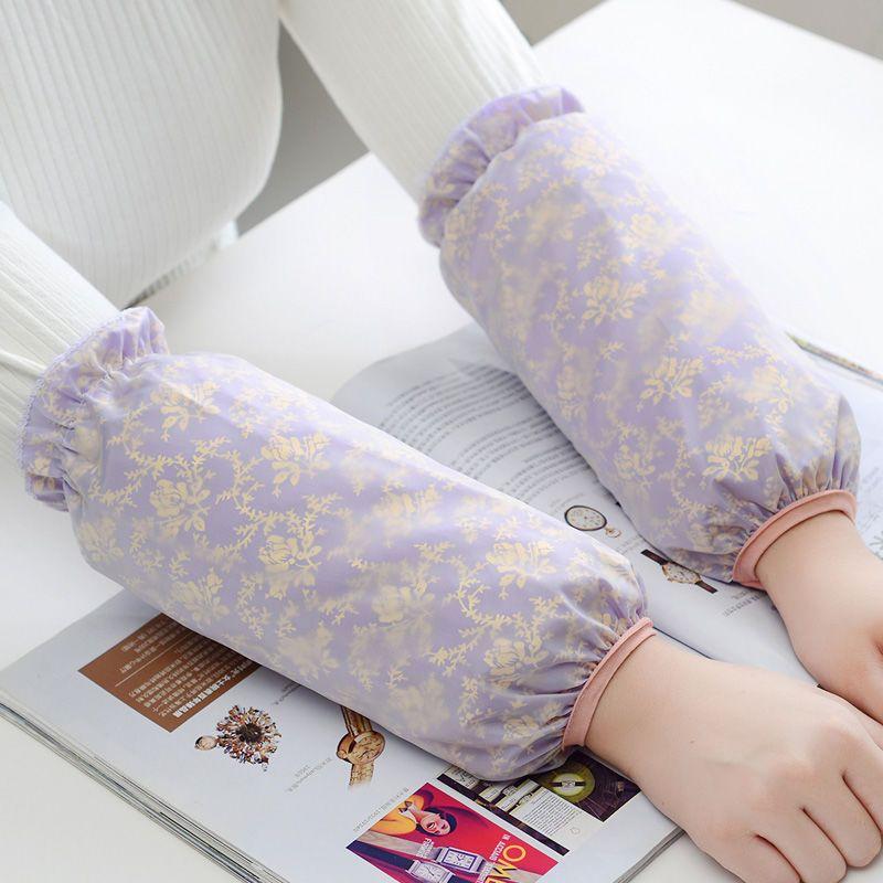 冬季双层蕾丝袖套女防脏护袖学生成人防污防水套袖网纱长短款袖头的细节图片3