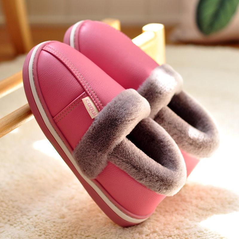 酷趣棉拖鞋女秋冬室内带后跟保暖厚底家用防滑包跟皮面防水棉鞋男