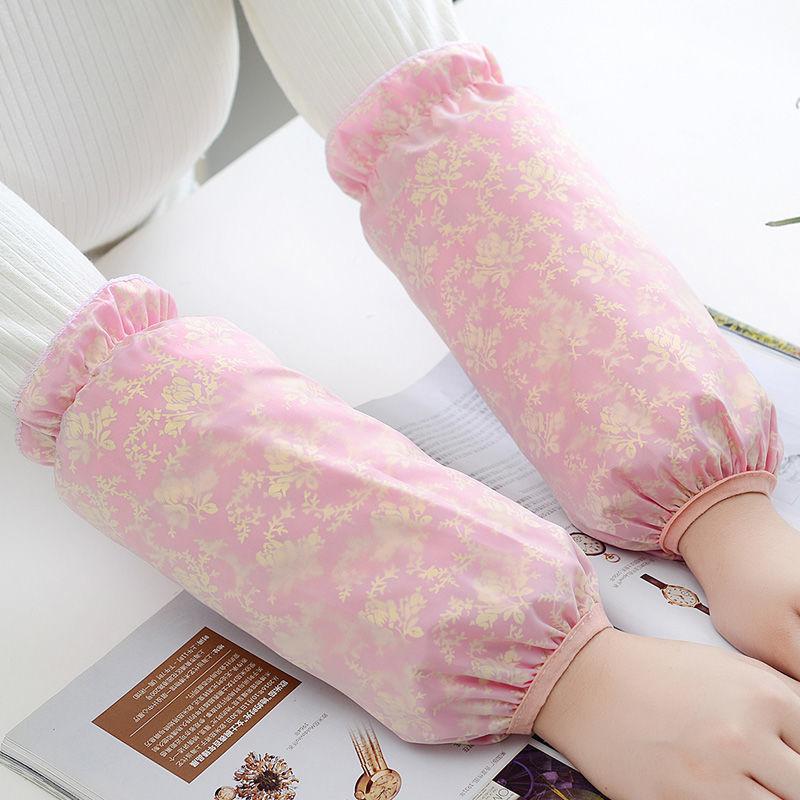 冬季双层蕾丝袖套女防脏护袖学生成人防污防水套袖网纱长短款袖头的细节图片1