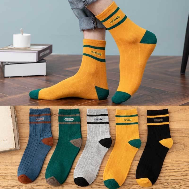 5-10双袜子男中筒春夏款韩版校园风男士长袜透气高筒篮球袜男短袜