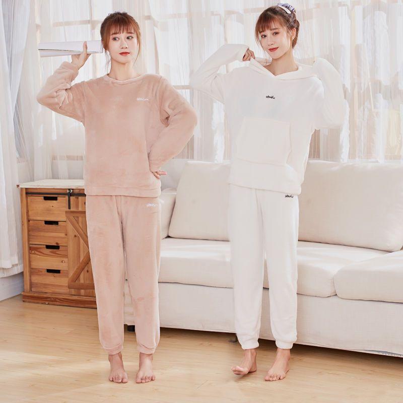 冬季加绒超厚外穿仙女暖暖套装女时尚束脚保暖裤宽松舒适长袖卫衣