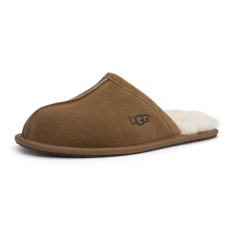UGG男士秋冬季居家拖鞋包头羊毛保暖毛皮柔软舒适毛毛拖1101111