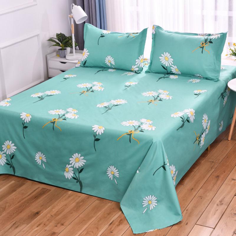 水洗棉床单单件亲肤磨毛斜纹床单加厚学生宿舍单人双人四季通用