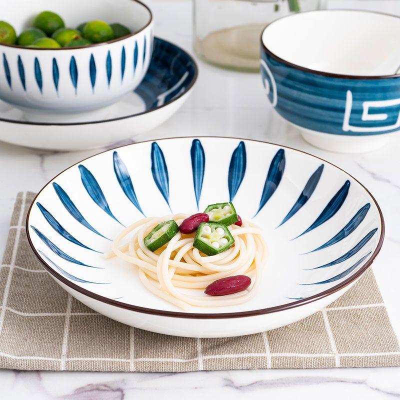 句途 和风手绘盘子菜盘日式利比盘创意ins风碟子饭盘西餐牛排餐具
