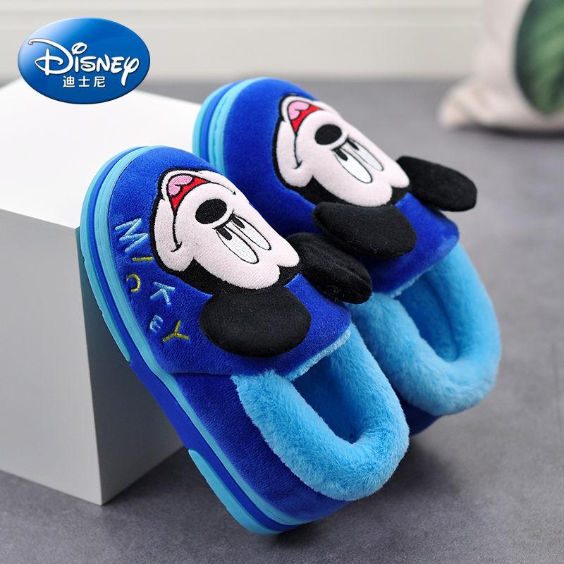 迪士尼儿童棉拖鞋包跟宝宝室内防滑保暖家居小孩男童女童棉鞋冬季