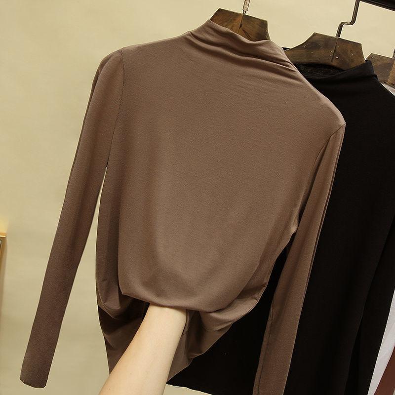 莫代尔半高领打底衫2020新款长袖t恤女秋冬百搭内搭黑色薄款上衣