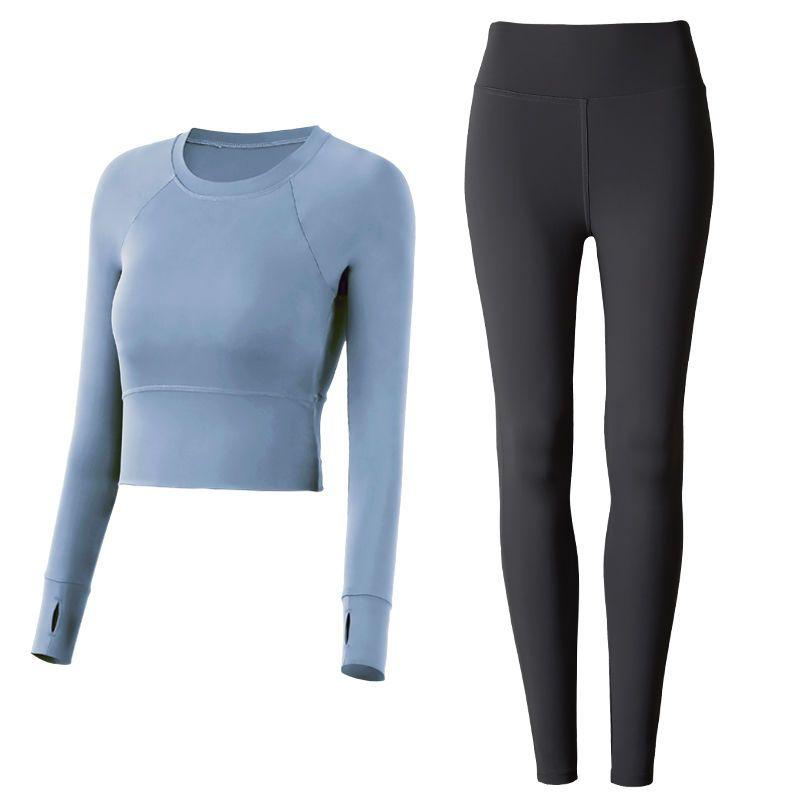瑜伽服健身跑步运动套装女秋冬长袖新款时尚专业速干紧身衣含胸垫