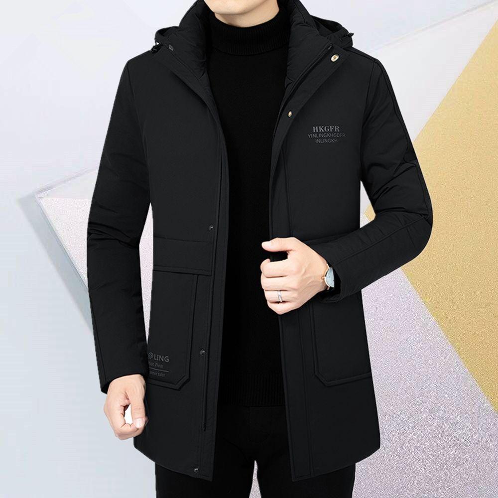 富贵鸟2020冬季新款棉衣中年男士外套中长款休闲厚棉服爸爸装棉袄