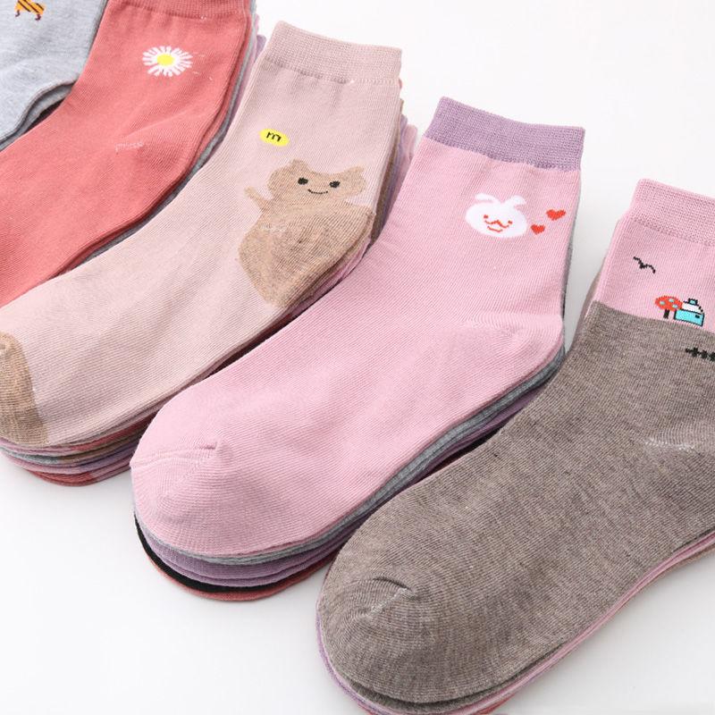 5-10双袜子女士秋季中筒女款中长袜秋冬加厚春秋款秋天大人女式