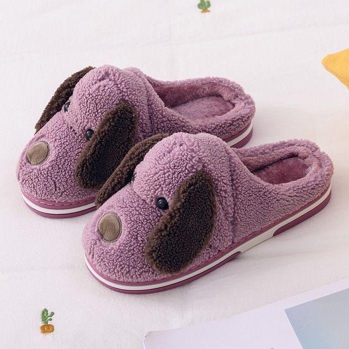 棉拖鞋女冬季室内加厚保暖卡通狗毛绒拖鞋防滑室内居家棉拖鞋包跟