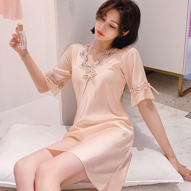 睡衣女夏季性感冰丝薄款宽松大码睡裙春秋韩版丝绸真丝短袖家居服