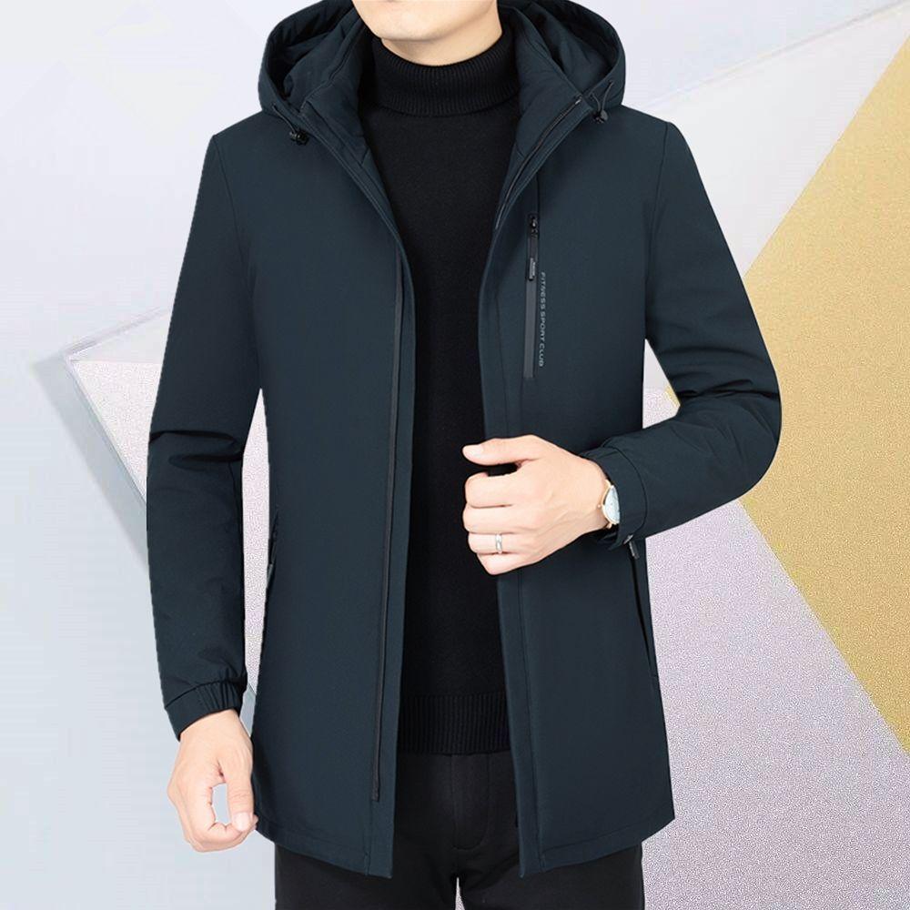 富贵鸟新款冬季羽绒服中年男士白鸭绒外套可拆卸内胆带帽羽绒袄