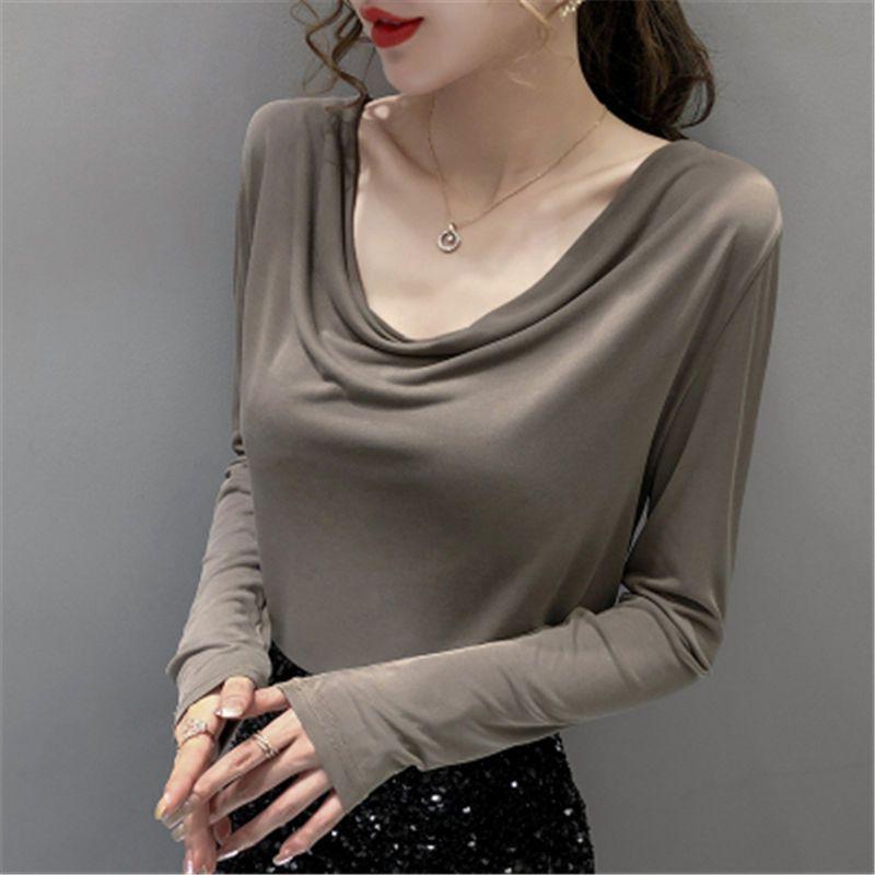 初秋女装新款长袖t恤女堆堆领打底衫洋气内搭薄款打底衫2531